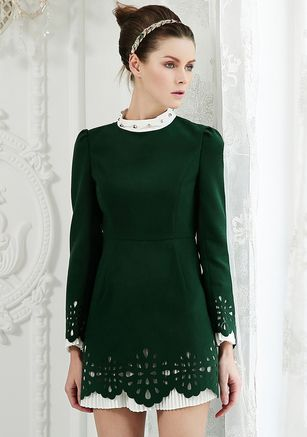Green Stand Collar Long Sleeve Rivet Hollow Dress $67.5