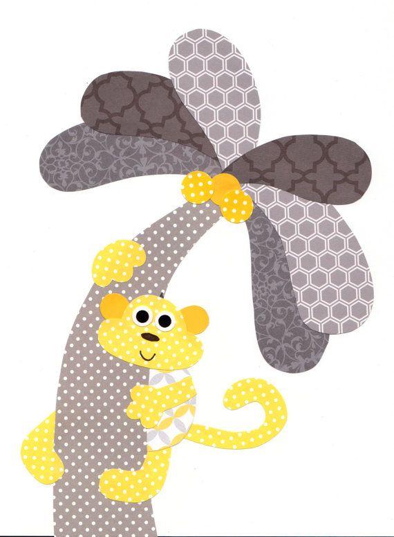 Yellow Grey Monkey Nursery Artwork Print Baby Room Decoration Kids Room Decor Yellow and Grey Nursery // Gifts Under 20 art wall on Etsy, $14.00