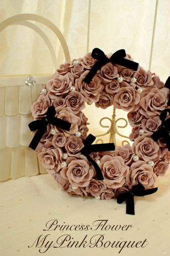 Pink clay roses with black velvet ribbon