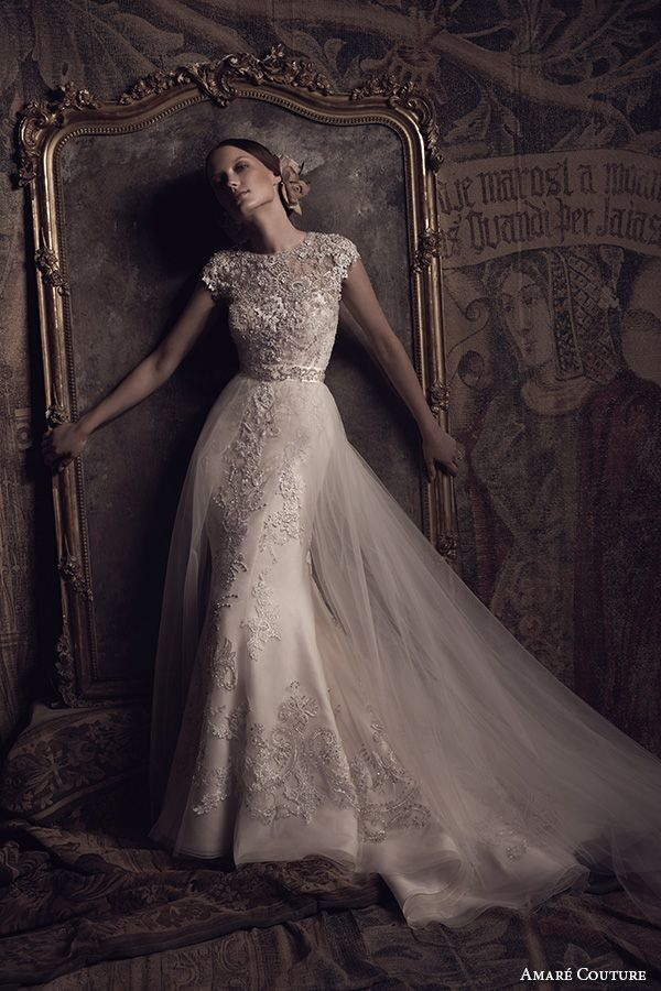 amare couture ss 2016 boat jewel neckline cap sleeves fully embellished 2 in 1 detachable a line overskirt trumpet tulle wedding dress beaded back (mila) mv