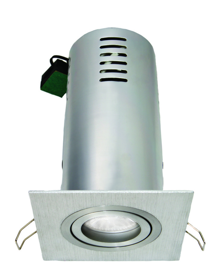 Reiss Square Gimbal Downlight Including Heat Can in Brushed Aluminium