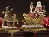 Christmas Stocking Holders For Mantle | Set of 2 Joseph's Studio Santa Claus and Reindeer Christmas Stocking Holders