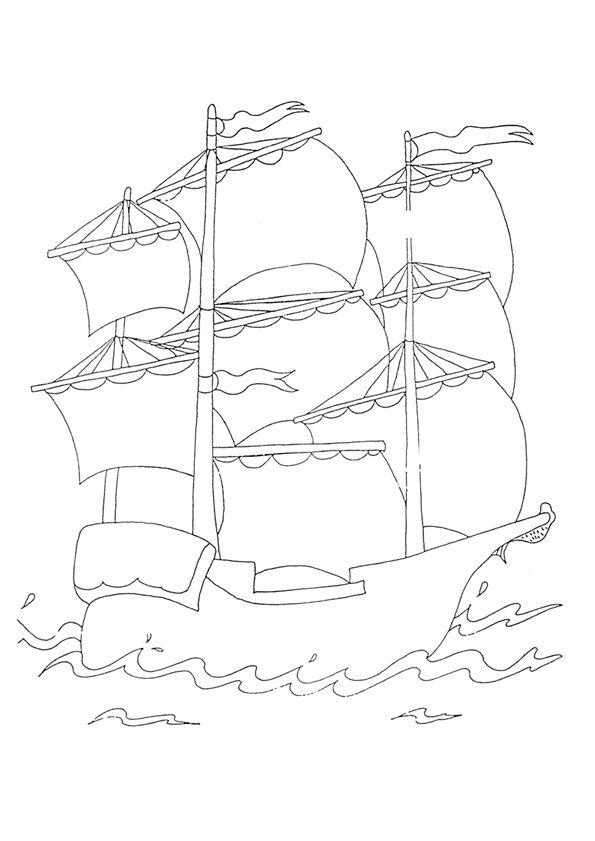 Le dessin d'un beau bateau pirate à colorier.