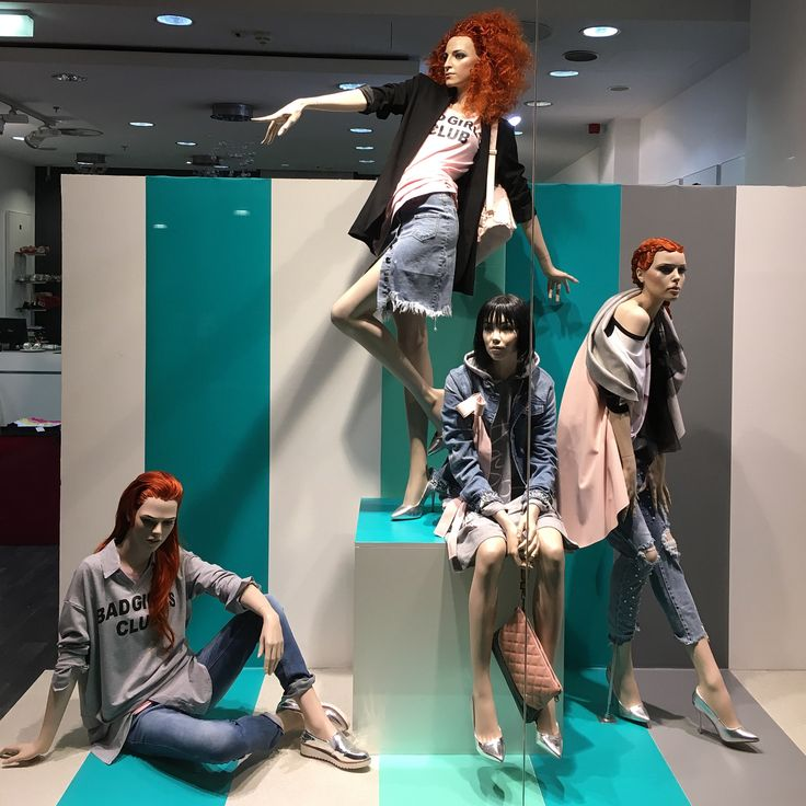 """FORUM, Debrecen, Hungary, """"Take a simple idea and take it seriously"""", photo by Zsolt Poka, mannequins by Rootstein, pinned by Ton van der Veer"""