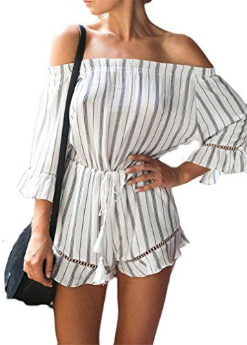 #Women's Sexy Strapless Stripe Printed Bohemia Beach Playsuit Jumpsuit Rompers