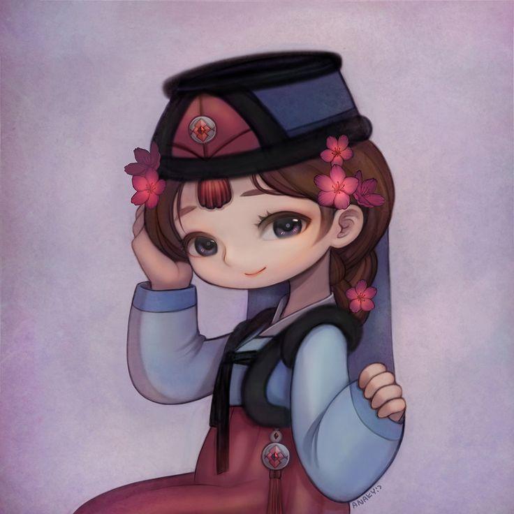 Girl in traditional costume Korea