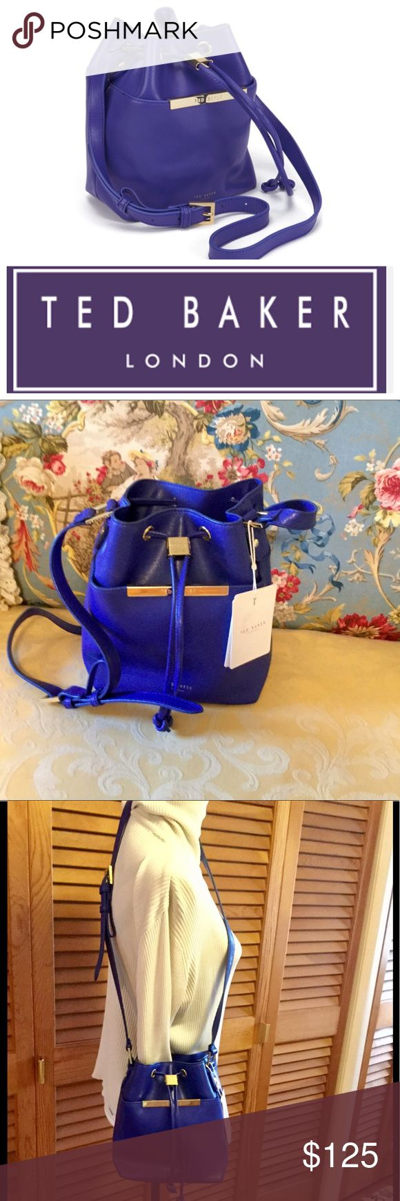 """Ted Baker Ersilda Blue Mini Bucket Crossbody bag Stunning Ted Baker Ersilda Metal Bar Mini Bucket Crossbody bag in bright blue (what I'd call royal or sapphire blue), genuine leather, NWT. Perfect condition, gold tone hardware. Interior zip pocket and divided slot pocket. Adjustable strap, can be worn on shoulder or crossbody style. Bag itself measures about 9"""" tall x 8"""" long x 4 1/2"""" wide. Gorgeous bag, will go with everything, dressy or casual. Bundle with two other items for automatic 25%…"""