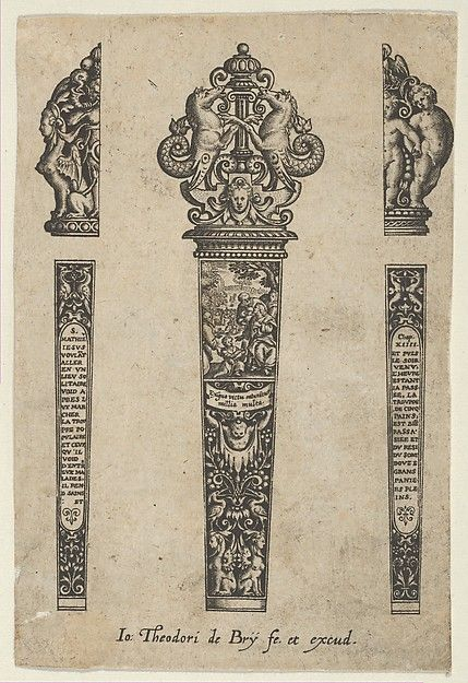 Design for a Knife Handle with the Sermon on the Mount, Johann Theodor de Bry (Netherlandish, Strasbourg 1561–1623 Bad Schwalbach), Engraving and blackwork