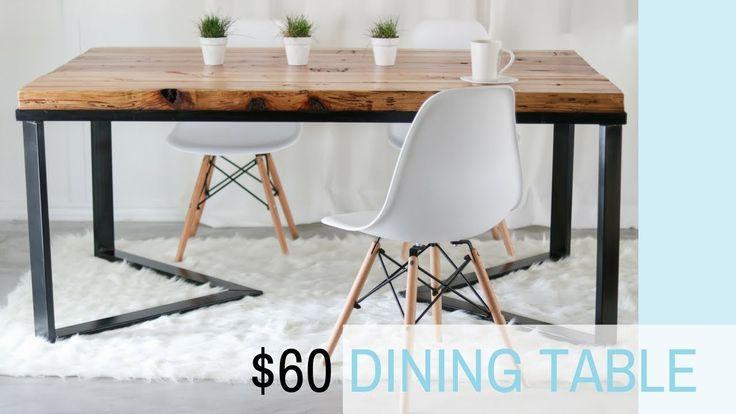 DIY Scandinavian Dining table | Wood & Metal | Recycled Wood