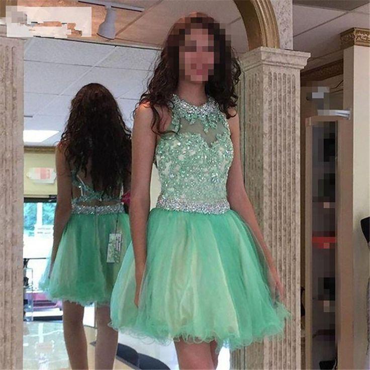 Vestido De Graduacion Mujer Cortos 2016 Mint Green Tulle Prom Dresses Short Homecoming Dresses