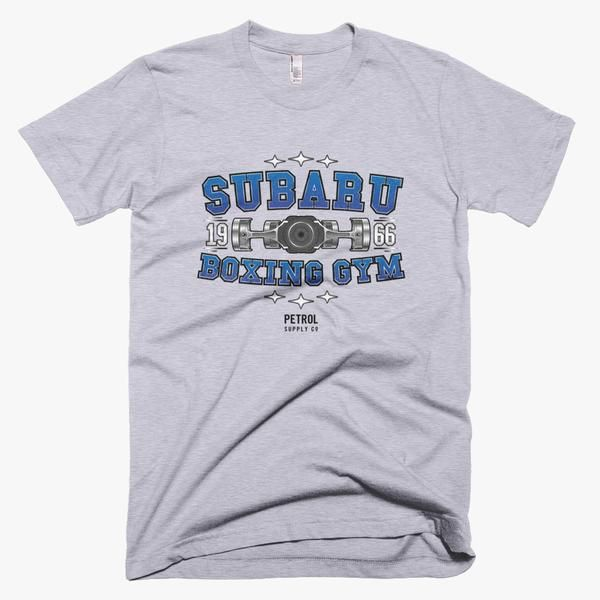 The Subaru Boxing Gym automotive t-shirt is inspired by the iconic boxer engine that powers the WRX, WRX STI, BRZ, Impreza, Forester, Legacy, and Outback.  #subaru #boxerengine #flat4 #wrx #wrxsti #sti #brz #impreza #forester #legacy #outback