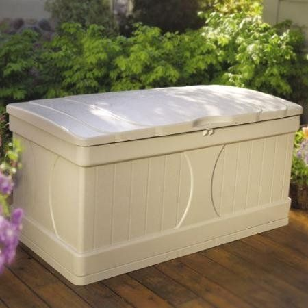 99 Gallon Stay-Dry Resin, Locking Lid Deck Box, White > 99-gallon capacity Ideal for storing furniture cushions and outdoor accessories Long-lasting resin construction Stay-dry design Suncast deck box in cream has a lockable lid Easy, quick assembly; no tools required Check more at http://farmgardensuperstore.com/product/99-gallon-stay-dry-resin-locking-lid-deck-box-white/