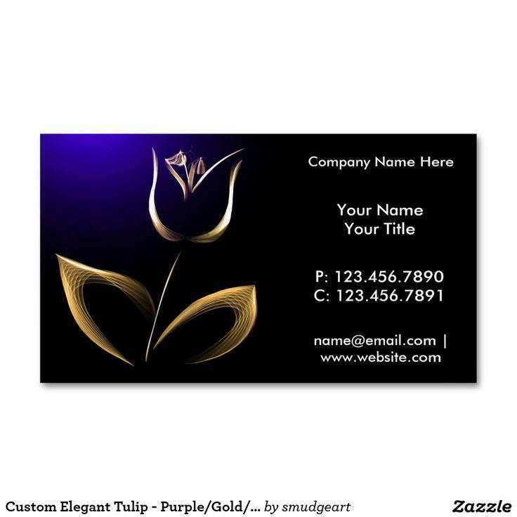 Custom Elegant Tulip - Purple/Gold/Black Magnetic Business Cards (Pack Of 25)