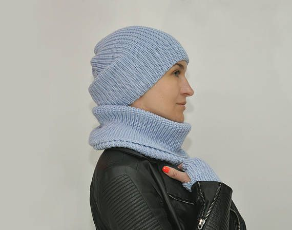Blue hat scarf cowl mittens set knitted wool blue beanie hats women warm beanie hat unisex winter accessories men hat pale blue knit cowl  Price set: hat + scarf + mittens - USD 70 hat + scarf - USD 52 hat + mittens - USD 44 scarf + mittens - USD 42  >Color: pale blue  >Material: 100% merino wool  >Dimensions: fits comfortably teen and adult head sizes  >Care: gentle care, hand wash in warm water with mild soap, press into dry towel, lie flat to dry. ------------------------------...