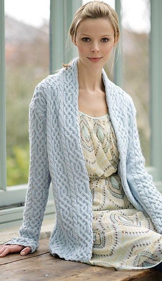Free knitting for Cabled Jacket by Debbie Bliss
