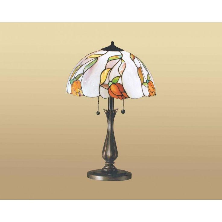 Lampada da Tavolo in stle Tiffany con Fiori Arancioni e Sfondo Bianco. Base in Resina con accensione a Pendolo / Tirante