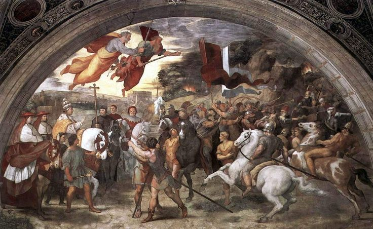 Sanzio Rafaella, 1514: Leo the Great Meets Attila the Hun. After the fall of the Roman Empire, the Popes were effectively the governors of the city. Leo negotiated with the Huns to withdraw from Italy in return for an annual ransom. When the Vandals pillaged Rome three years later, he persuaded them not to burn the city and slaughter all the inhabitants. (Vatican Museums)
