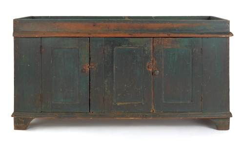 "Large Pennsylvania painted dry sink, 19th c., with a well above three doors and straight bracket feet, retaining an excellent old green painted surface, 31 1/2"" h., 60 1/2"" w."