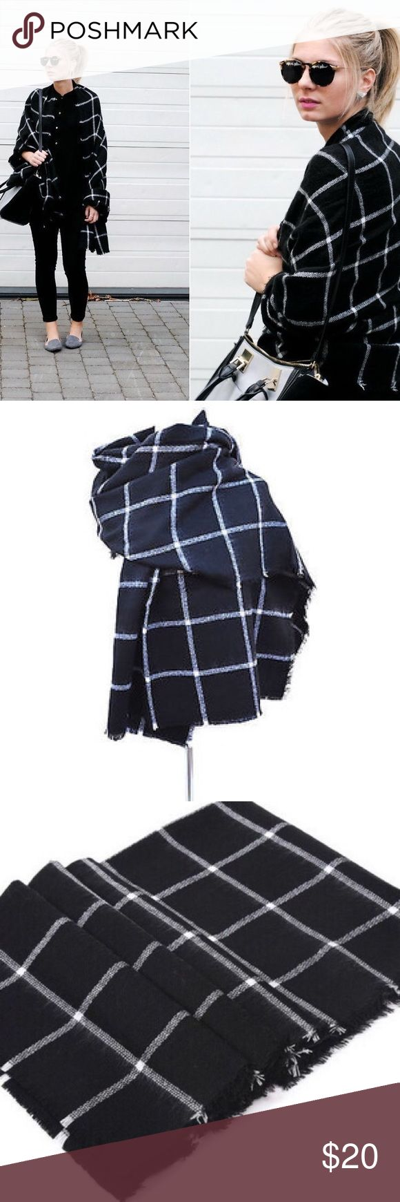 "Tartan black and white plaid blanket scarf NWOT. A staple for fall and winter! Looks just like Zara. Size is 78"" x 40"" Accessories Scarves & Wraps"