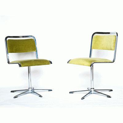 chromé stoelen met fluwelen zitting