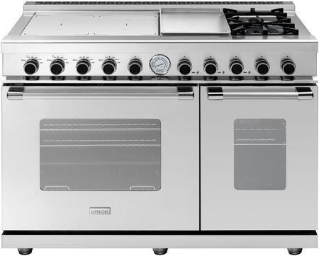 """RN483GCSS 48"""" NEXT Series Freestanding Dual Fuel Natural Gas Range with Classic Oven Doors 2 Sealed Burners Convection Induction Elements and Electric Griddle in Stainless Steel"""