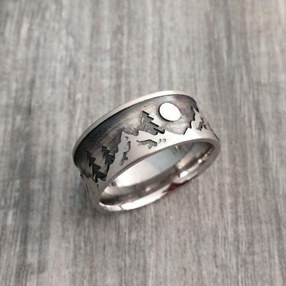 mountain ring men wedding ring sterling by abenaajewelscustom - Man Wedding Rings
