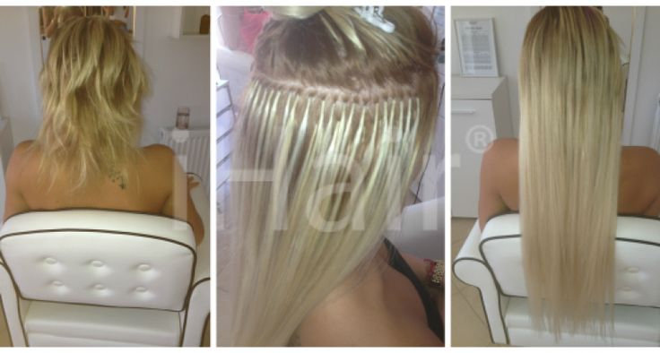70 cm-es hajhosszabbítás keratinos hőillesztéses technikával 10-es szőke világosszínű hajfesték alkalmazásával