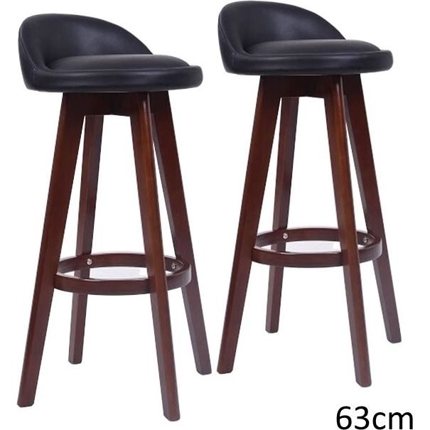 2x Dansk Pu Leather Wooden Bar Stools In Black 63cm Buy
