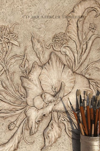 """Картины цветов ручной работы. Ярмарка Мастеров - ручная работа Барельеф """"Цветочная композиция"""". Handmade."""