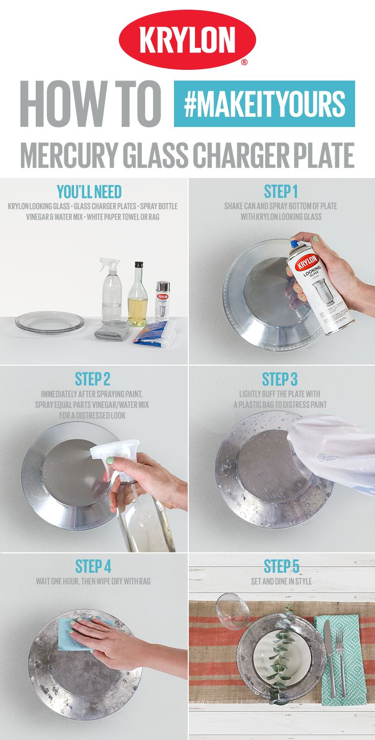 Bring eye-catching décor to the table by turning your charger plates into reflective pieces with Krylon Looking Glass. This project is simple: all you'll need is a can of Krylon Looking Glass and a few items you probably already have at home. Follow the step-by-step to #MakeItYours.