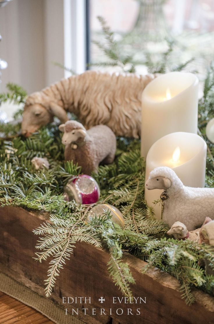 Christmas Decor ~ Sheep, Candles, Evergreens, ornaments