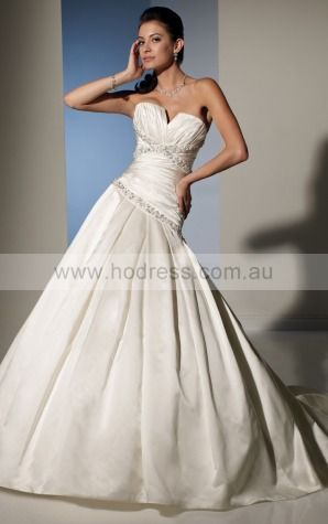 Ball Gown Sleeveless Sweetheart Lace-up Floor-length Wedding Dresses feaf1077--Hodress