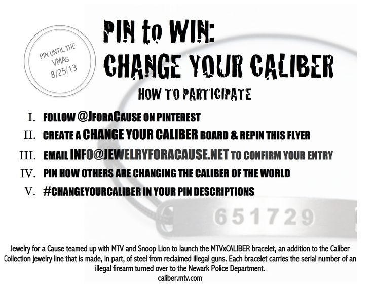 Follow the directions and pin to win an MTVxCaliber bracelet! 5 lucky winners will be chosen after the VMAs on August 25th. Good luck! #changeyourcaliber