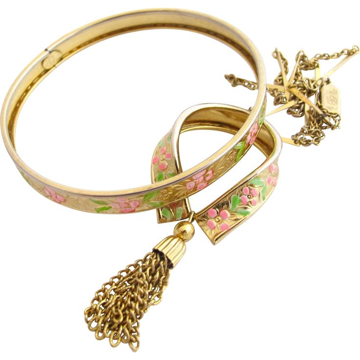SOLD - Vintage Hobe Bangle and Pendant Set with Painted Flowers