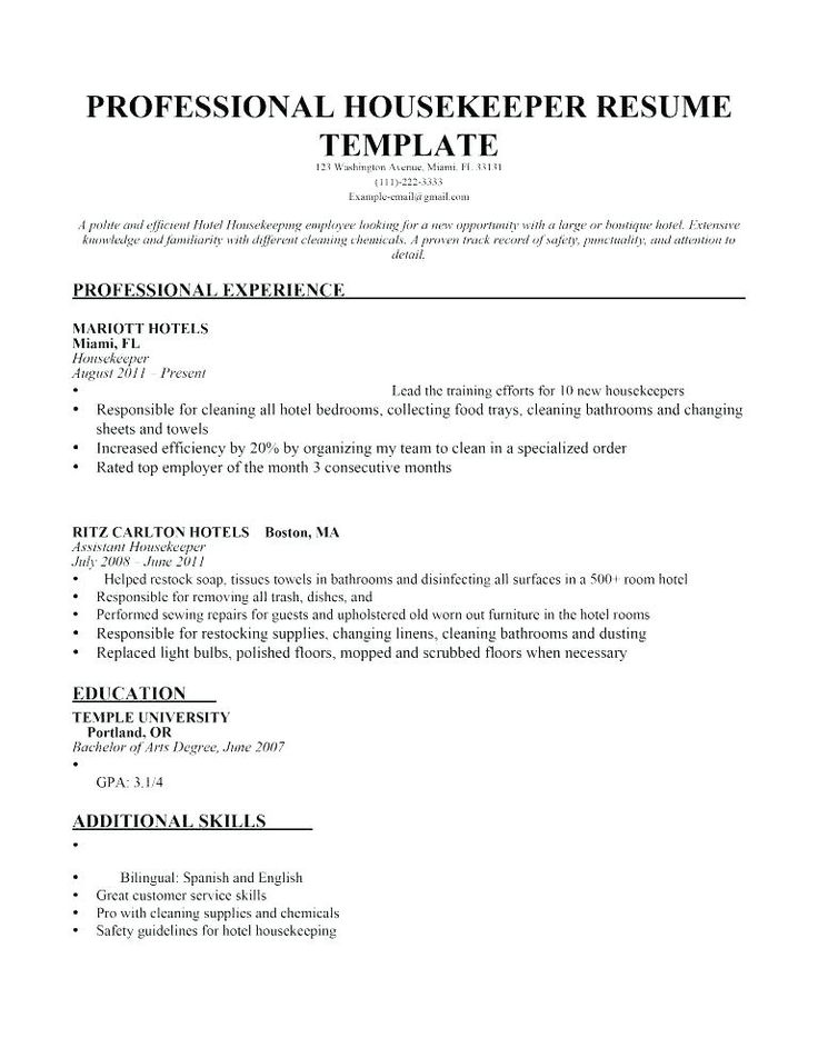 Resume examples housekeeping hospital Jobs Housekeeping