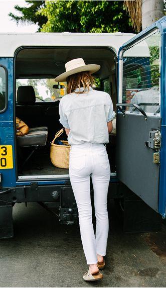white jeans, straw fedora, basket, button down, Birkenstocks, Land Rover Defender