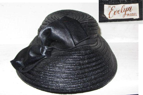 Vintage 50s Designer An EVELYN Model Black Sisal by HatsForward
