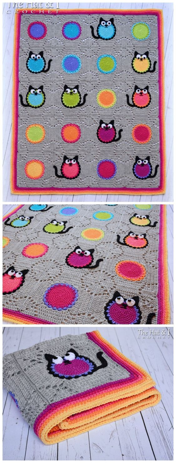 Cat Lover Blanket This square is really interesting! The cat is cute, but even without adding the cat features, this would be a great pattern. Very effective. Available for a wee fee via TheHatandI 's Etsy store.