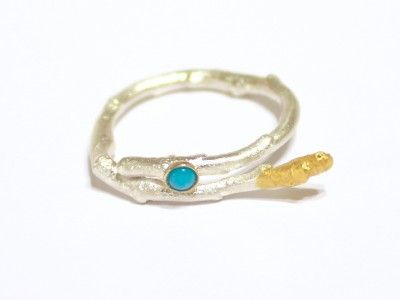 Blue Twig Sterling Silver Ring (SOLD) with Turquoise and Gold applications