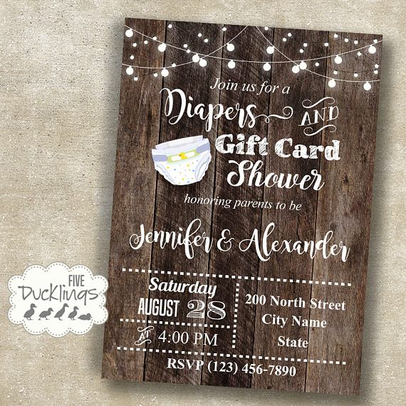 Diaper And Gift Card Shower Invitation Baby Shower Invite Diaper Baby Shower Invitations Best Baby Shower Gifts Baby Shower Invitation Wording