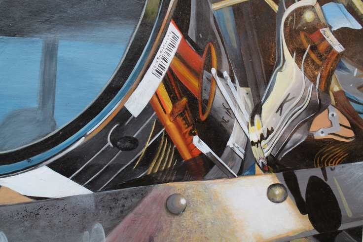 Logan Moffat, 15.  Paint tins and reflections upon a ladder.  Materials- acrylic paint