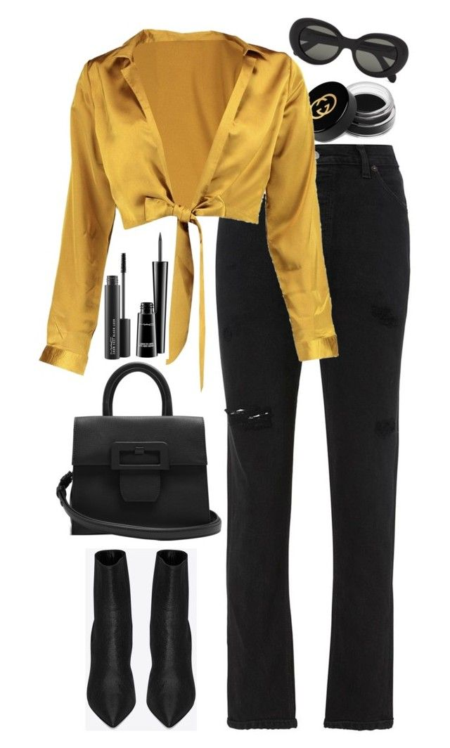 """""""Untitled #546"""" by lindsjayne ❤ liked on Polyvore featuring RE/DONE, MAC Cosmetics, Gucci, Yves Saint Laurent, Boohoo, Maison Margiela and Acne Studios"""