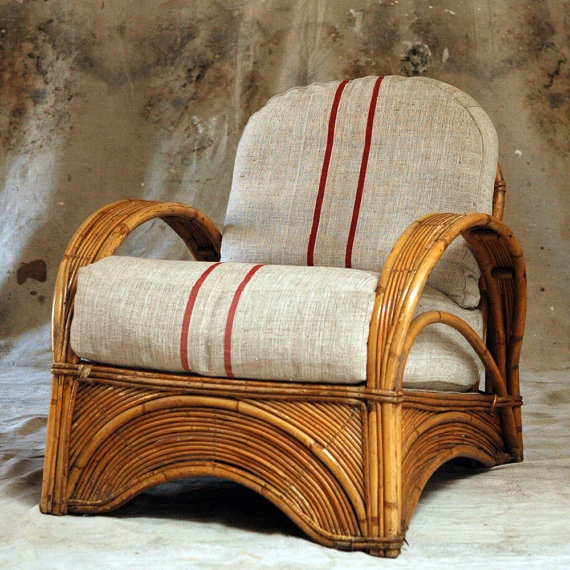 1940s Rattan Chair Red Striped Grain Sack Upholstery By 86home 1050 00