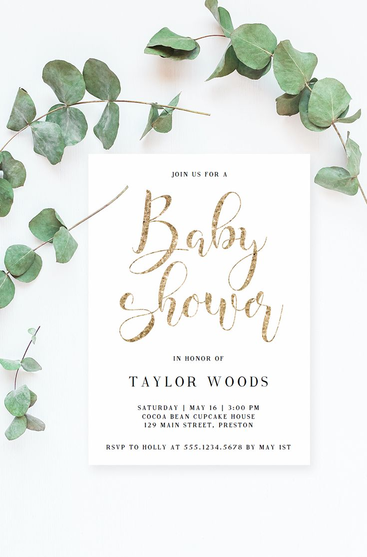 Gold Calligraphy Baby Shower Invitation. Printable invite for your gender neutral baby shower. Make the perfect announcement of your baby shower with this gold glitter baby shower invitation. Personalize the invitation with your own words. Simply download, edit, print and trim!