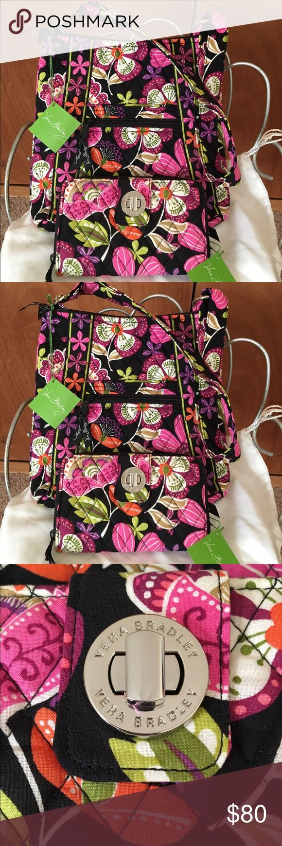 Authentic Vera Bradley hipster and wallet set💝 Very colorful set brand new with tags gorgeous set for any occasion bag is 11.5x11 with adjustable strap wallet is 8x5 😄💜🌷 Vera Bradley Bags Crossbody Bags