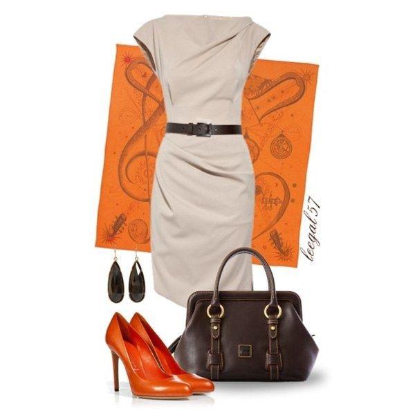 С чем носить оранжевые туфли.