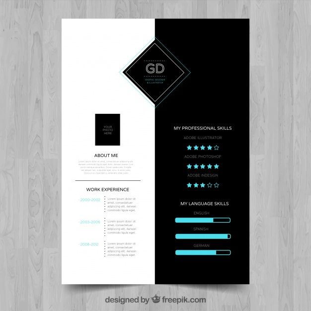Free vector Sophisticated resume with infographic data #24126