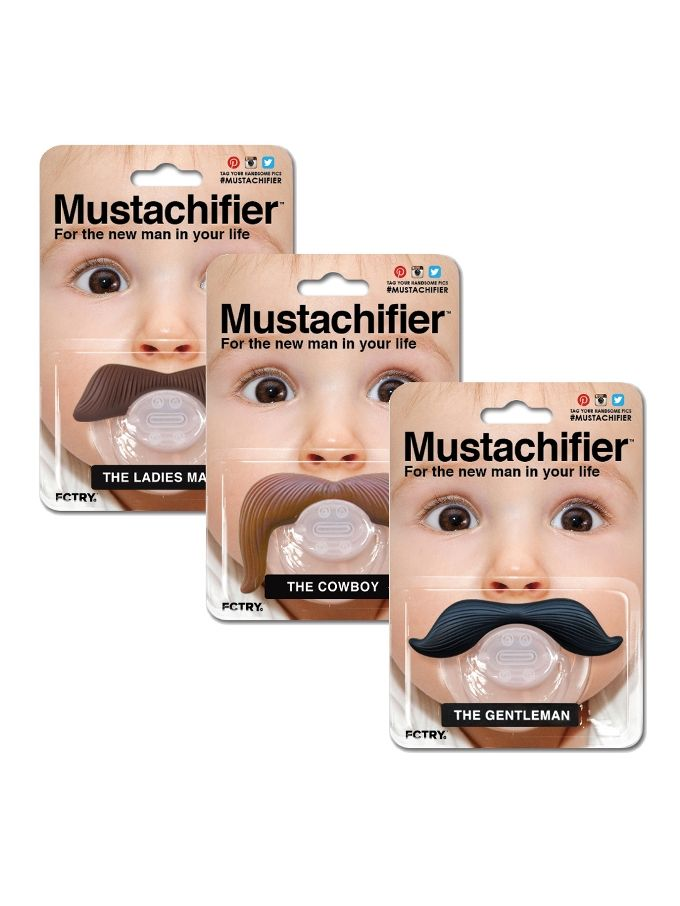 The Fully Monty Pacifier Set from Boys' Club: Hipster Baby Clothes & Gear on Gilt