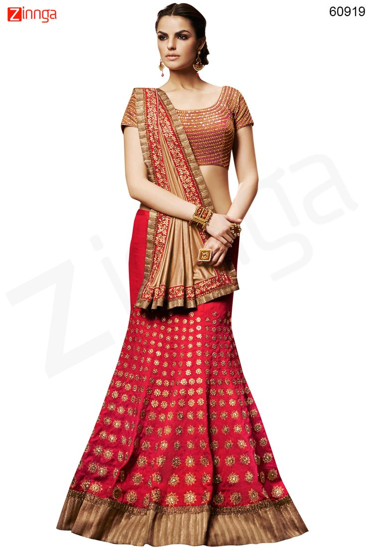 Women's Pretty Mermaid Cut Lehenga Style in Red Color Message/call/WhatsApp at +91-9246261661