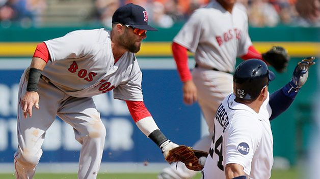 Sandy Leon broke an eighth-inning tie with a two-run single to lift the Red Sox to a 7-5 victory over the Detroit Tigers on Sunday.